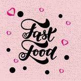 Letras de la mano de los alimentos de preparación rápida y fondo de los elementos de los garabatos Ilustración del vector Imagen de archivo