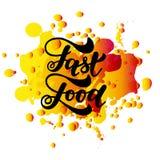 Letras de la mano de los alimentos de preparación rápida y fondo de los elementos de los garabatos Ilustración del vector Fotos de archivo libres de regalías