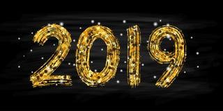 letras de la mano de 2019 números Efecto seco de la textura del cepillo Feliz Año Nuevo Feliz Navidad Graduación Ilustración del  Fotografía de archivo
