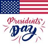 Letras de la mano de presidentes Day en los E.E.U.U. con la bandera americana y el fondo blanco Diseño tipográfico Letras de la m libre illustration
