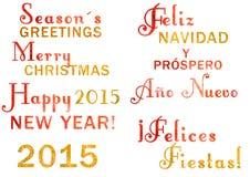 Letras de la Navidad de la acuarela Imagen de archivo