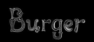 Letras de la palabra de la hamburguesa por la tiza blanca en fondo negro Letras del vintage de la hamburguesa en la pizarra stock de ilustración