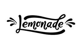 Letras de la palabra de la limonada Texto negro en el fondo blanco Bebida fresca del verano Caligrafía moderna Ilustración del ve Fotografía de archivo