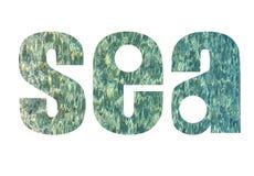 Letras de la pendiente del mar hechas de fondo del agua azul ilustración del vector