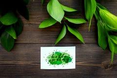 Letras de la primavera, lema de la primavera Poniendo letras a hola salte en etiquetas engomadas entre foliages verdes en la opin fotos de archivo