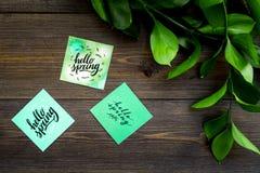 Letras de la primavera, lema de la primavera Poniendo letras a hola salte en etiquetas engomadas entre foliages verdes en la opin imágenes de archivo libres de regalías