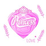 Letras de la princesa en corazón rosado Tendencia moderna del diseño Ejemplo del vector aislado en blanco Imagenes de archivo
