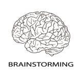 Letras de la REUNIÓN DE REFLEXIÓN e icono del cerebro humano Foto de archivo libre de regalías