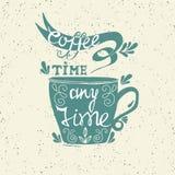 Letras de la taza de café stock de ilustración