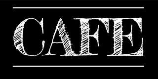 Letras de la tiza del café aisladas en fondo negro libre illustration