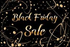 Letras de la venta de Black Friday Fondo abstracto hermoso con la mancha blanca /negra y descensos del oro Diseño de carteles de  Foto de archivo libre de regalías