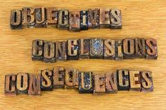Letras de las consecuencias de las conclusiones de los objetivos imágenes de archivo libres de regalías