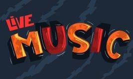 Letras de Live Music Artistic Cool Comic Inscripción de la historieta stock de ilustración