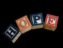 Letras de madeira que soletram a esperança Fotos de Stock