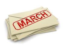 Letras de marzo (trayectoria de recortes incluida) Foto de archivo
