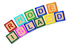 Letras de molde de Rhode Island In Isolated Wooden Foto de archivo