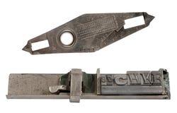 Letras de molde y herramienta de medición imagen de archivo libre de regalías