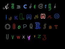 Letras de néon do alfabeto Fotografia de Stock Royalty Free