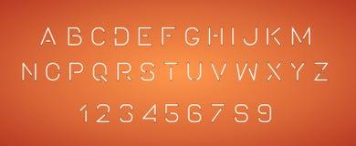 Letras de neón brillantes del alfabeto, números ilustración del vector