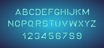 Letras de neón brillantes del alfabeto, números stock de ilustración