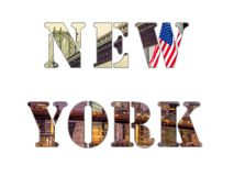 Letras de New York City - colagem da foto de lugar famosos de New York foto de stock