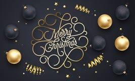 Letras de oro de la caligrafía del flourish de la Feliz Navidad de la línea chapoteante tipografía del oro para el diseño de la t stock de ilustración