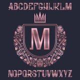 Letras de oro rosadas con la plantilla del escudo de armas El equipo impresionante de la fuente y de los elementos para el logoti ilustración del vector