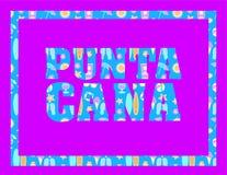 Letras de Punta Cana en backround fucsia Letras tropicales del vector con los iconos coloridos de la playa en backround azul clar stock de ilustración