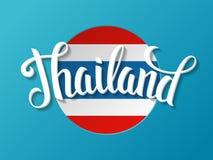 Letras de Tailandia en el fondo de la bandera nacional Imagen de archivo libre de regalías