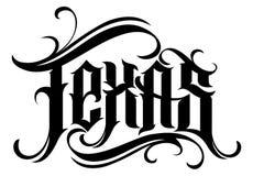 Letras de Tejas en estilo moderno del tatuaje stock de ilustración