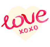 Letras de Valentine Day Heart y de la acuarela Fotos de archivo