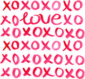 Letras de Valentine Day Heart y de la acuarela Fotografía de archivo libre de regalías