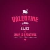 Letras de Valentine Day Vector la capa de la foto, mano dibujada, texto inspirado label Cita de encargo en backgro rosado ilustración del vector