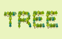 Letras del árbol Letras de la tipografía de Forest Nature Imagenes de archivo