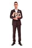 Letras del ABC del concepto de la escritura del hombre de negocios que entrenan Fotografía de archivo