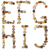 Letras del alfabeto de E-F-G-H-I-J de las monedas Fotografía de archivo