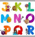 Letras del alfabeto de la historieta de la educación para los niños stock de ilustración