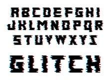 Letras del alfabeto de la interferencia Fuente con efecto de la distorsión Ilustración aislada del vector Imagen de archivo