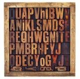 Letras del alfabeto de la prensa de copiar del vintage fotos de archivo