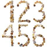 1-2-3-4-5-6 letras del alfabeto de las monedas Imagen de archivo
