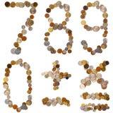 letras del alfabeto 7_8_9_0_+_-_x_= de las monedas Imágenes de archivo libres de regalías