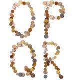 Letras del alfabeto de O-P-Q-R de las monedas Fotos de archivo