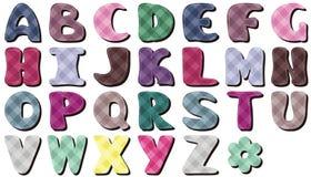 Letras del alfabeto del cordón del libro de recuerdos Fotos de archivo libres de regalías