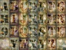 Letras del alfabeto del Grunge fijadas Foto de archivo