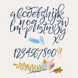 Letras del alfabeto: minúsculo, mayúsculo, números stock de ilustración