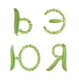 Letras del alfabeto ruso con los guisantes verdes, ABC Foto de archivo