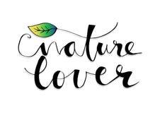 Letras del amante de naturaleza stock de ilustración