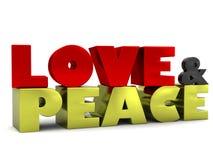 Letras del amor y de la paz 3D Imagen de archivo libre de regalías