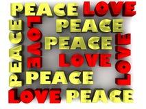 Letras del amor y de la paz 3D Fotografía de archivo