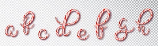 Letras del bastón de caramelo de la Navidad La fuente fijó con la letra del caramelo - a, b, c d, e, f, g, h Alfabeto dulce 3d ai stock de ilustración
